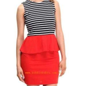 Ali & Kris Striped Red Peplum Dress